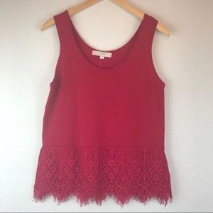 NWT Loft Berry Lace Trim Sweater Tank Size Medium